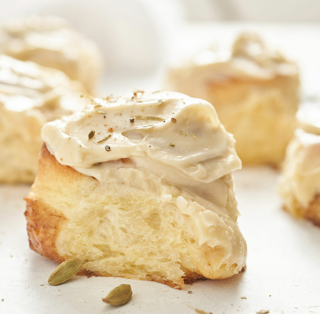 Cardamom Buns with Cream Cheese Frosting