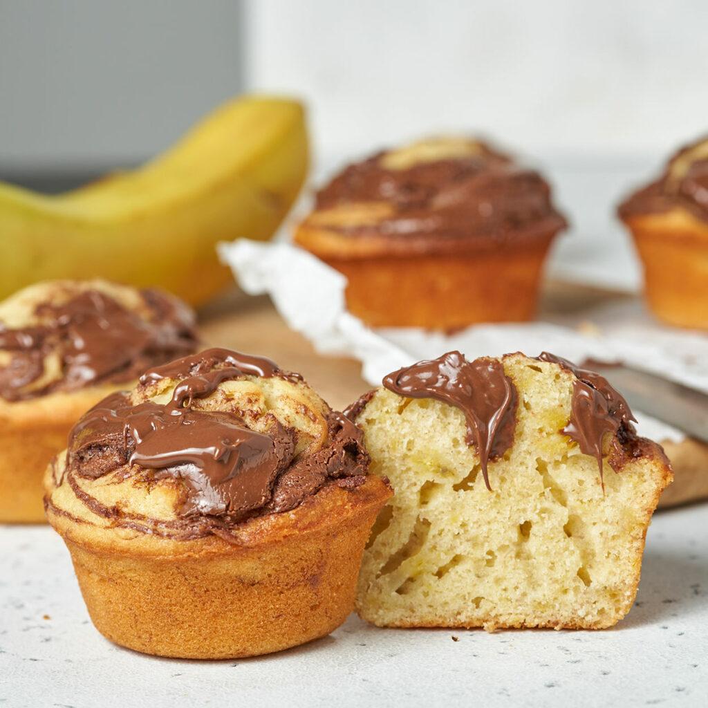 Banana Muffins with Nutella Swirl